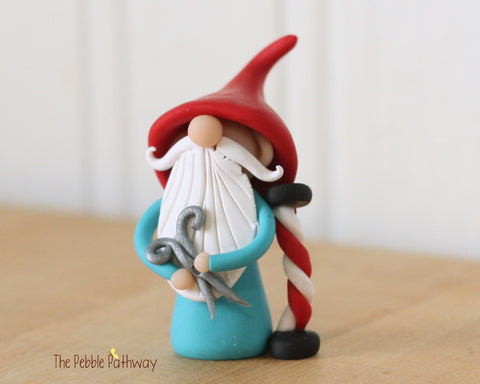 Barber Gnome - Hair Dresser Gnome - Career Gnomes and Fairies - Figurine Ornament 0337