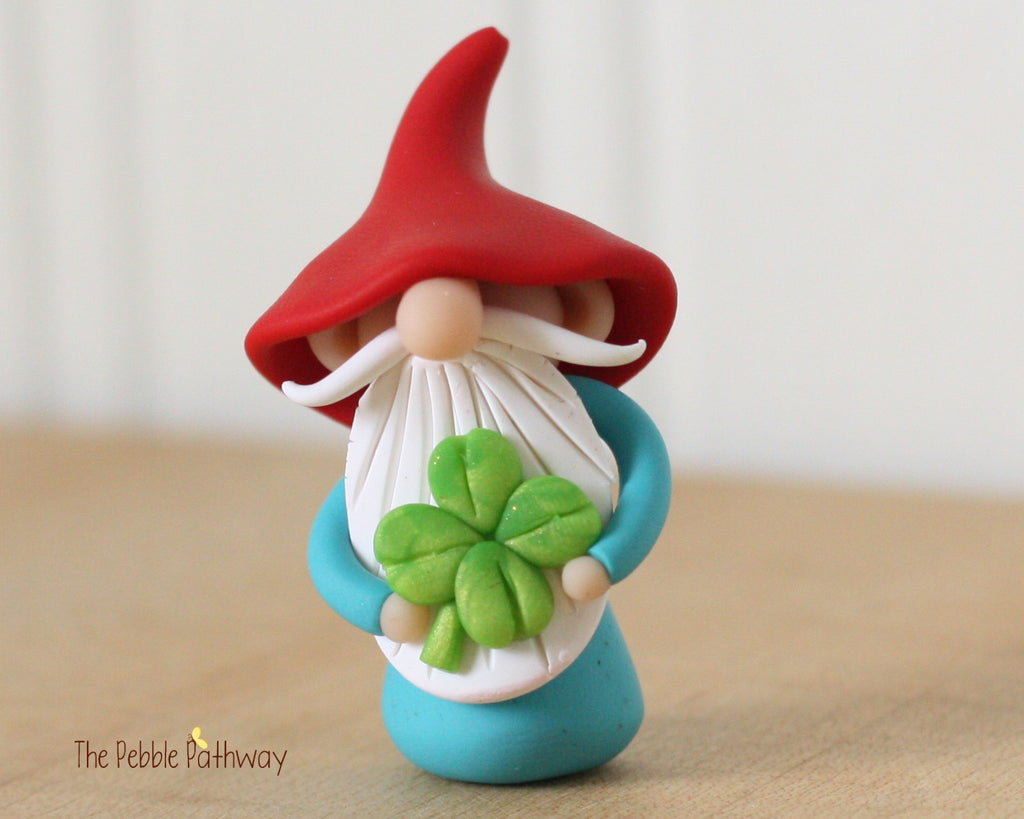 March Gnome of the Month - Lucky Gnome holding 4 leaf clover - Saint Patricks Day - 0348 - ThePebblePathway
