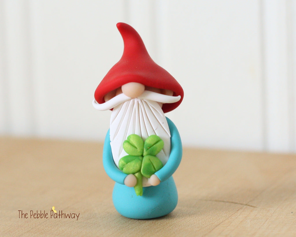 March Gnome of the Month - Lucky Gnome holding 4 leaf clover - Saint Patricks Day - 0349 - ThePebblePathway