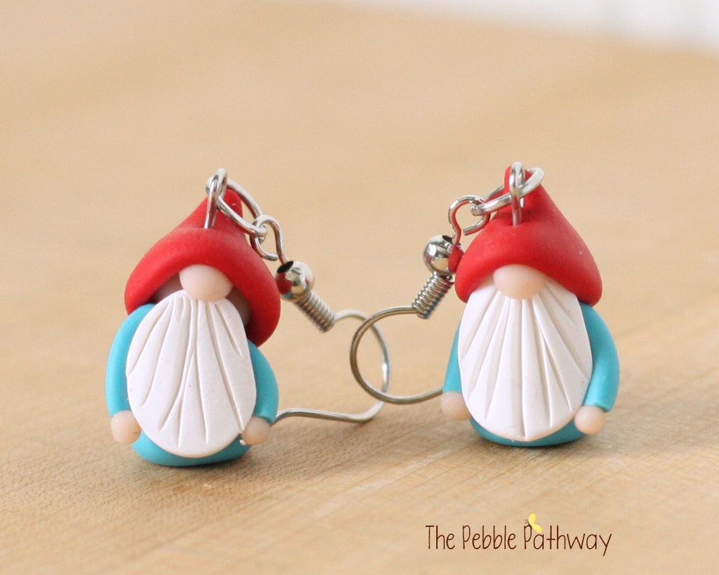 Tiny Gnome Earrings 0351 - ThePebblePathway