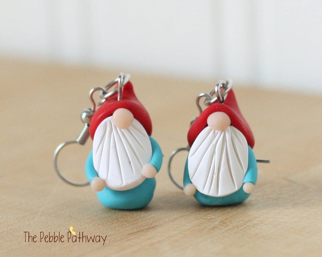Tiny Gnome Earrings 0354 - ThePebblePathway