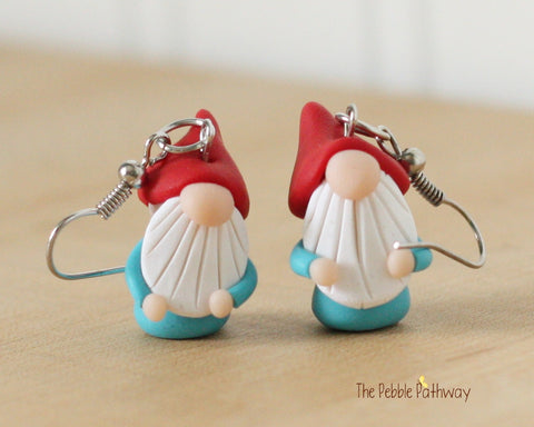 Tiny Gnome Earrings 0364 - ThePebblePathway