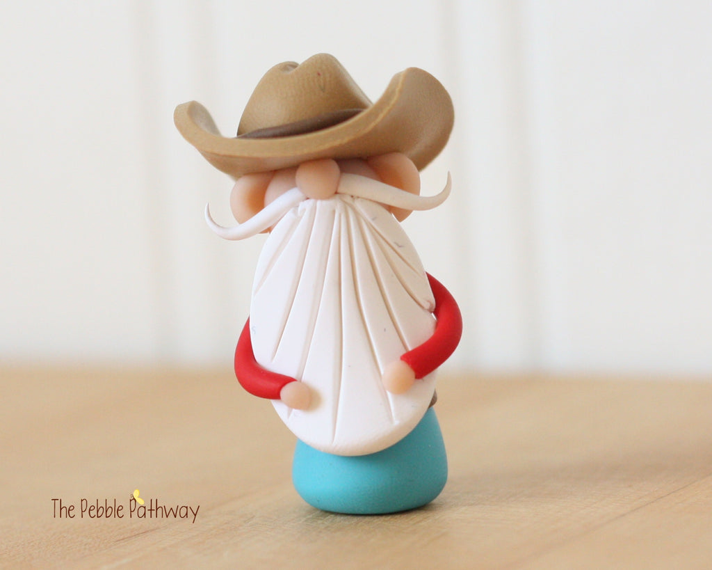 Cowboy or Farmer Gnome - Career Gnomes and Fairies - Working Gnome 0366 - ThePebblePathway