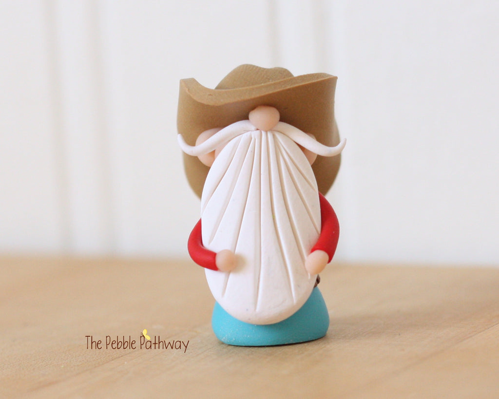 Cowboy or Farmer Gnome - Career Gnomes and Fairies - Working Gnome 0368 - ThePebblePathway