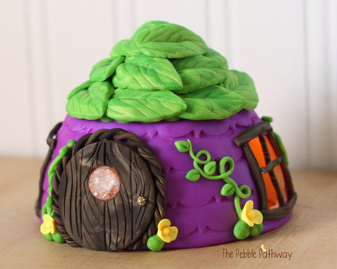 Purple Fairy House with Green leaf roof, tea light, yellow flowers, fairy door with window 0376 - ThePebblePathway