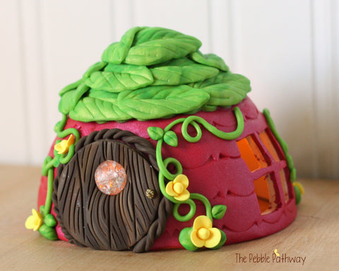 Pink Fairy House with Green leaf roof, tea light, yellow flowers, vines, fairy door with window 0378 - ThePebblePathway