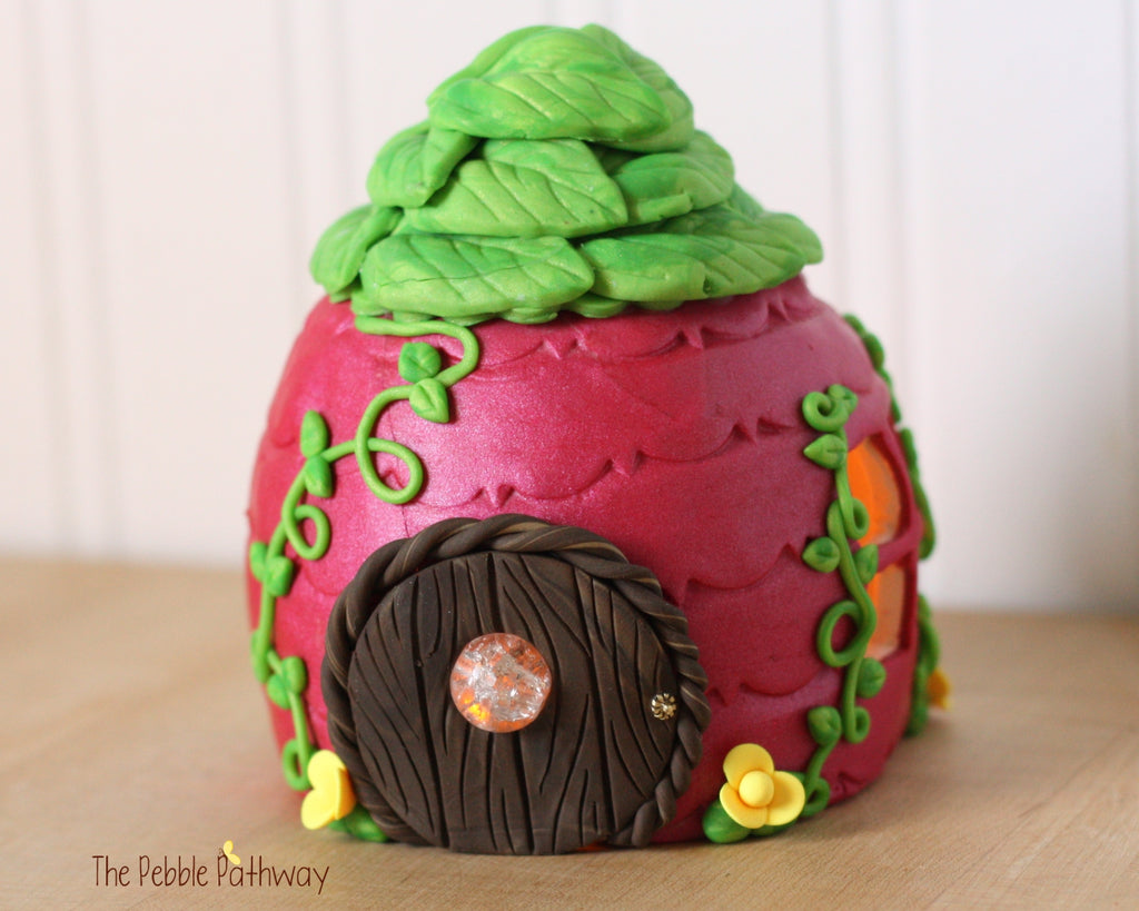 Pink Tooth Fairy House - Pink with green leaf roof and yellow flower accents 0379 - ThePebblePathway
