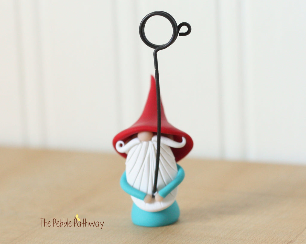 Gnome Photo Holder, Place Card Holder, Table Number Holder 0381 - ThePebblePathway