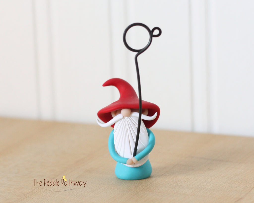 Gnome Photo Holder, Place Card Holder, Table Number Holder 0384 - ThePebblePathway