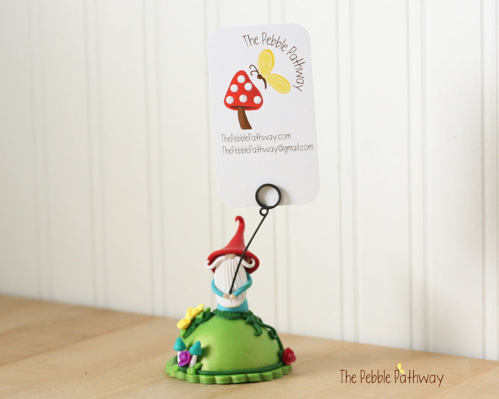 Gnome Photo Holder, Place Card Holder, Table Number Holder - Gnome wedding accessory 0389 - ThePebblePathway