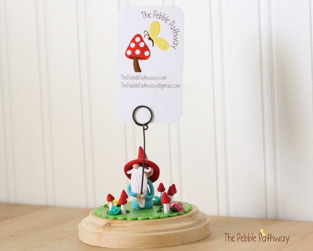 Gnome Photo Holder, Place Card Holder, Table Number Holder - Gnome grass, flowers, mushrooms 0391
