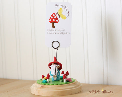 Gnome Photo Holder, Place Card Holder, Table Number Holder - Gnome grass, flowers, mushrooms 0391 - ThePebblePathway