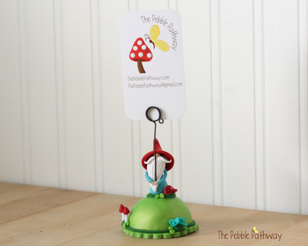 Gnome Photo Holder, Place Card Holder, Table Number Holder - Gnome grass, flowers, mushrooms 0392
