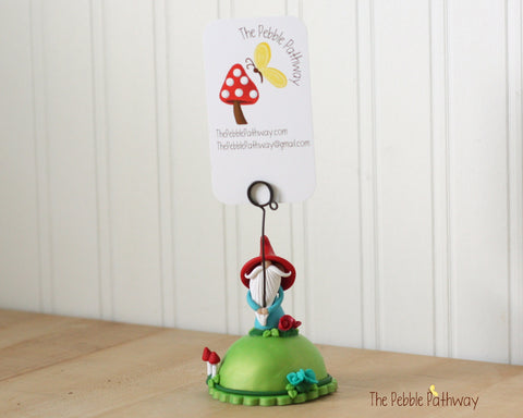 Gnome Photo Holder, Place Card Holder, Table Number Holder - Gnome grass, flowers, mushrooms 0392 - ThePebblePathway