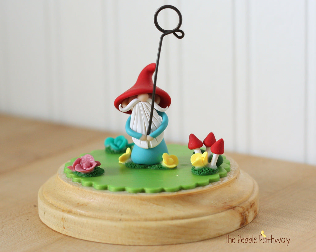 Gnome Photo Holder, Place Card Holder, Table Number Holder - Gnome grass, flowers, mushrooms 0393