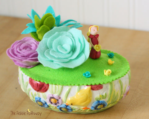 Fairy Garden in Ceramic Easter Dish with Fairy, tiny flowers, and felt succulents - no watering - ThePebblePathway