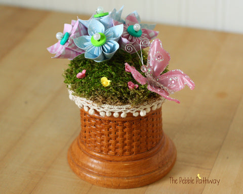 Preserved Moss fairy garden - tiny flowers, origami paper flowers, and pink butterfly - no watering