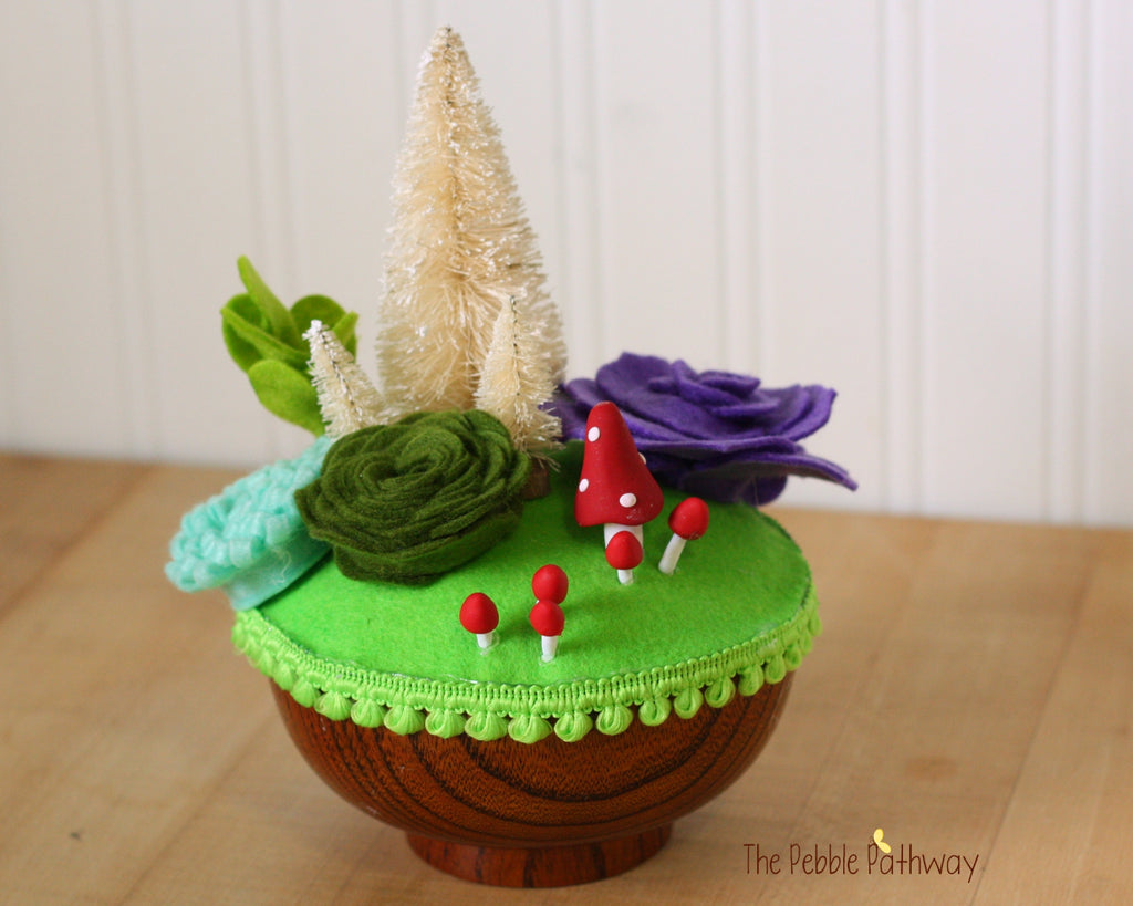 Fairy Garden in Wooden Bowl with mushrooms, bottle brush trees, felt succulents - no watering - ThePebblePathway