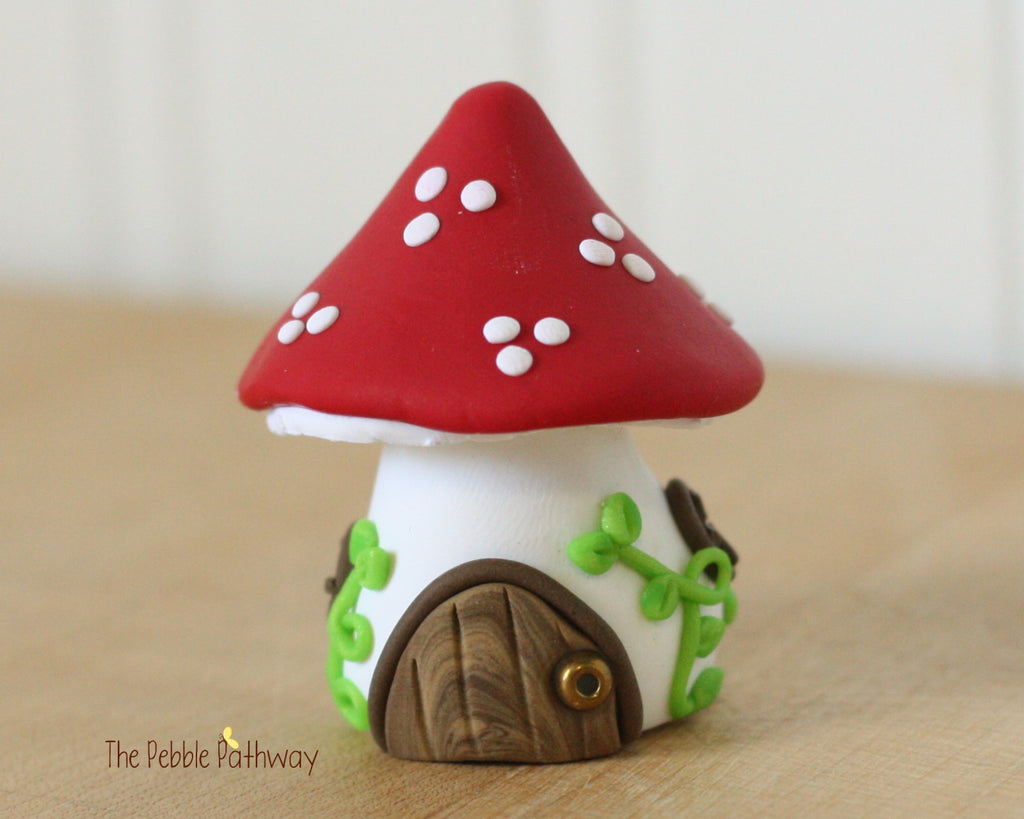 Tiny Red Mushroom Fairy House, Gnome Home, Toadstool Cottage 0411 - ThePebblePathway