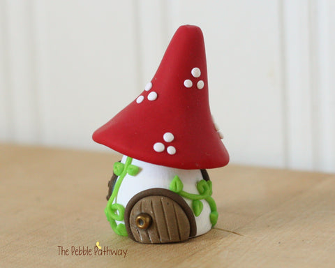 Tiny Red Mushroom Fairy House, Gnome Home, Toadstool Cottage 0413 - ThePebblePathway