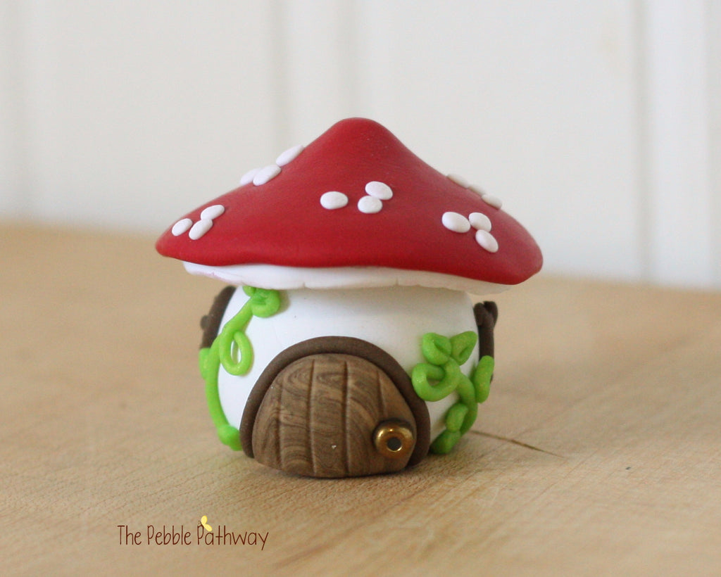Tiny Red Mushroom Fairy House, Gnome Home, Toadstool Cottage 0414