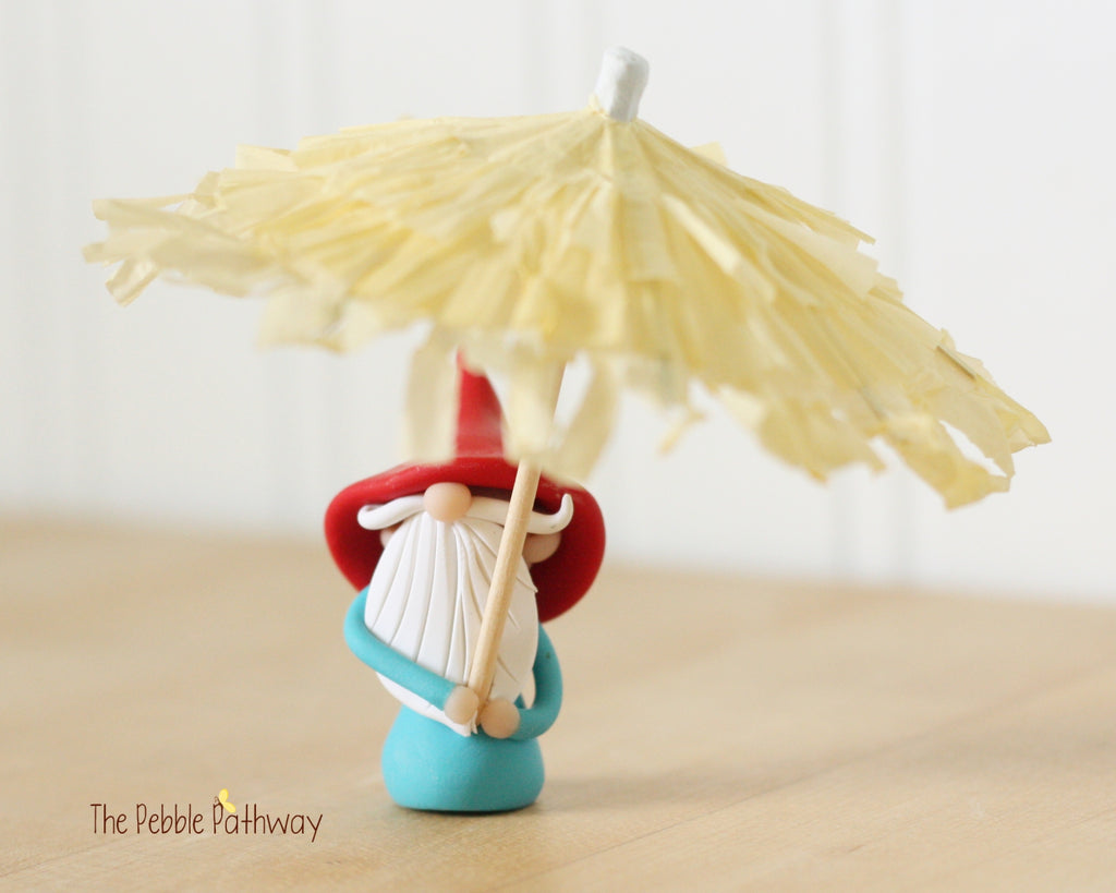 April Gnome of the Month - April Showers - Umbrella Gnome - 0416 - ThePebblePathway