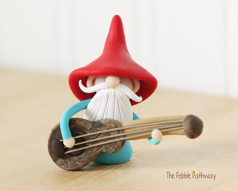 Guitar Player Gnome Bass Player Gnome Christmas Ornament - Career Gnomes and Fairies 0417