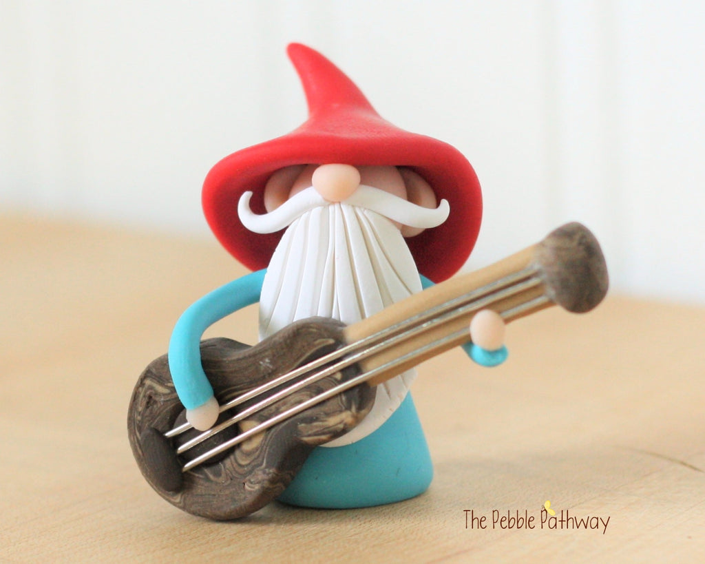 Guitar Player Gnome Bass Player Gnome Christmas Ornament - Career Gnomes and Fairies 0418 - ThePebblePathway