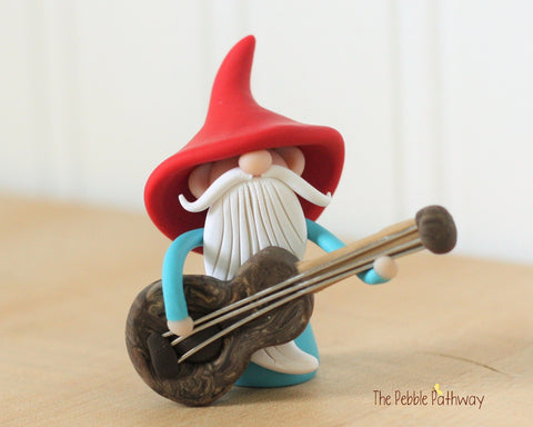 Guitar Player Gnome Bass Player Gnome Christmas Ornament - Career Gnomes and Fairies 0419
