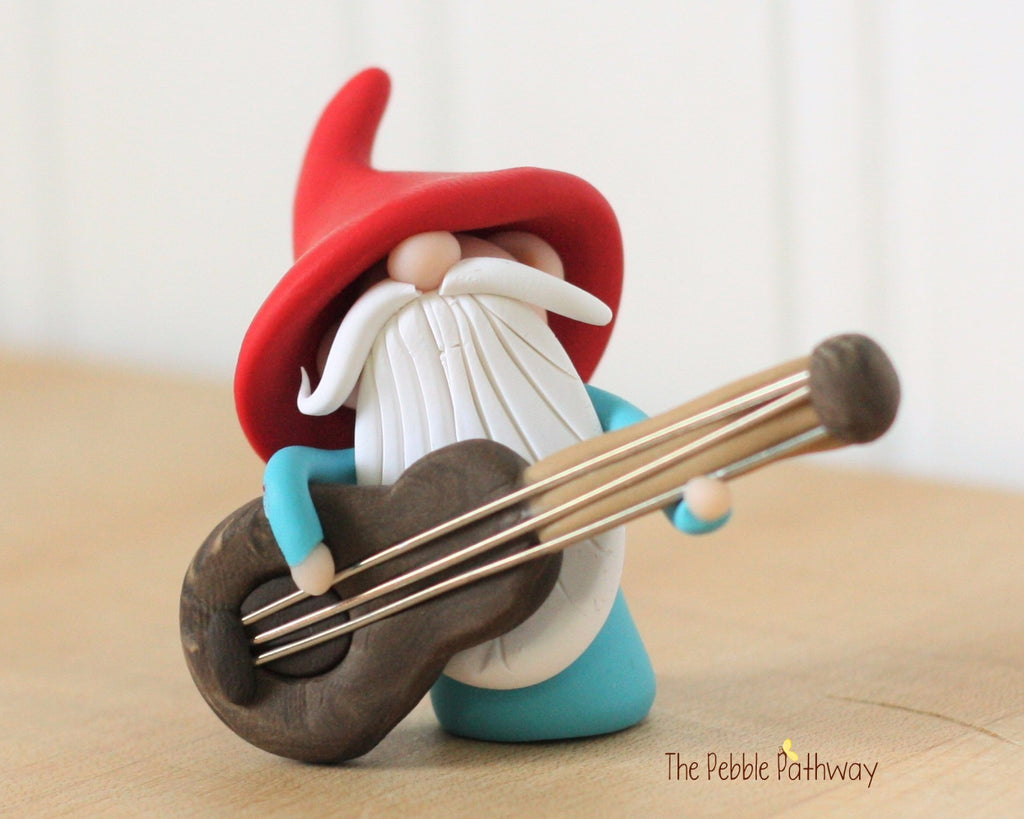 Guitar Player Gnome Bass Player Gnome Christmas Ornament - Career Gnomes and Fairies 0420 - ThePebblePathway