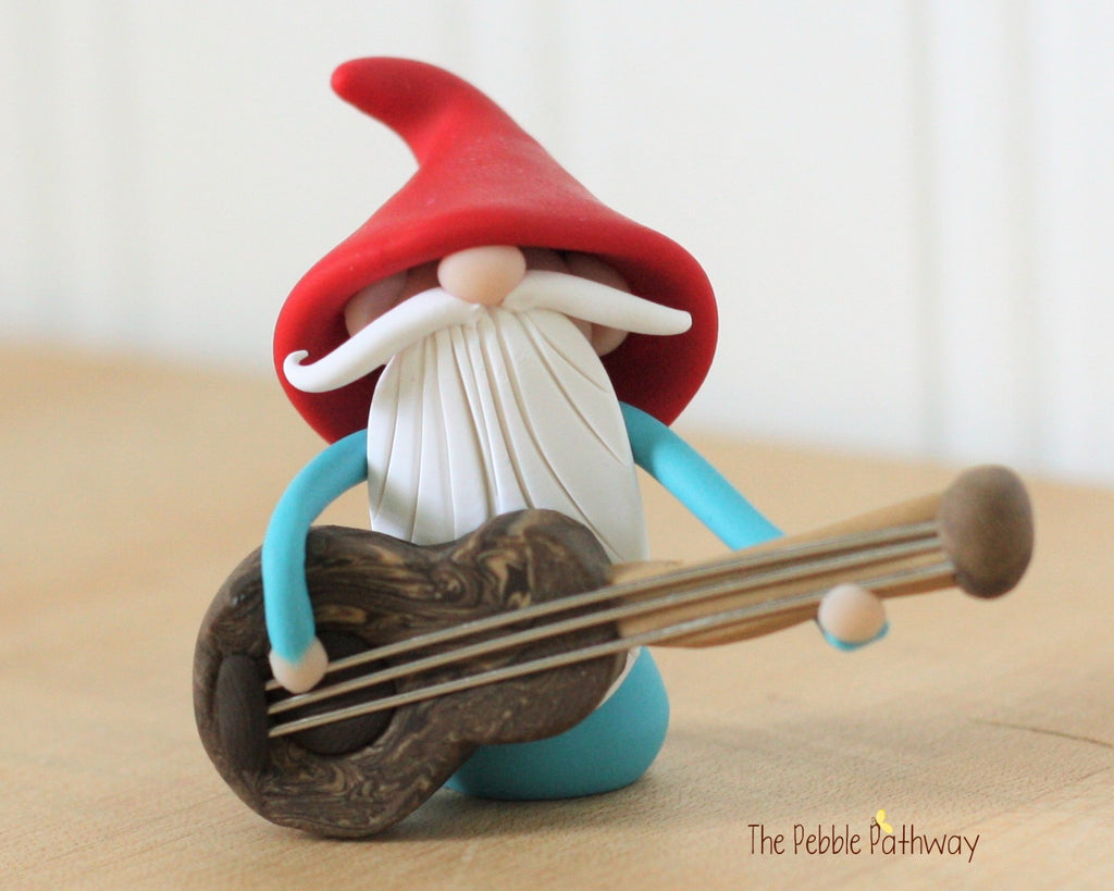 Guitar Player Gnome Bass Player Gnome Christmas Ornament - Career Gnomes and Fairies 0421