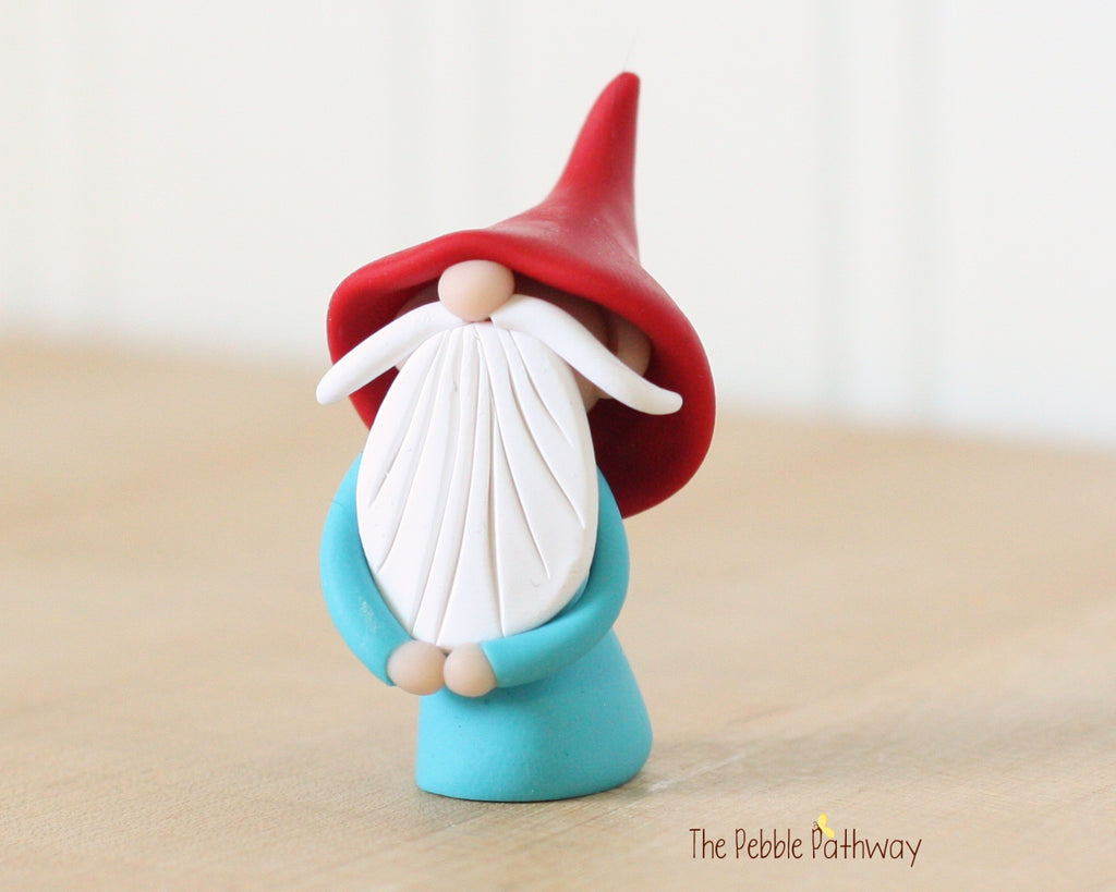 Miniature Polymer Clay Gnome - Garden Gnome Good Luck Shelf Sitter Plant Poke Ornament 0435 - ThePebblePathway