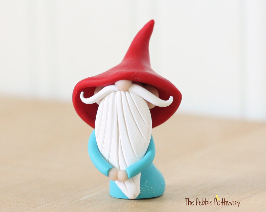 Miniature Polymer Clay Gnome - Garden Gnome Good Luck Shelf Sitter Plant Poke Ornament 0436 - ThePebblePathway