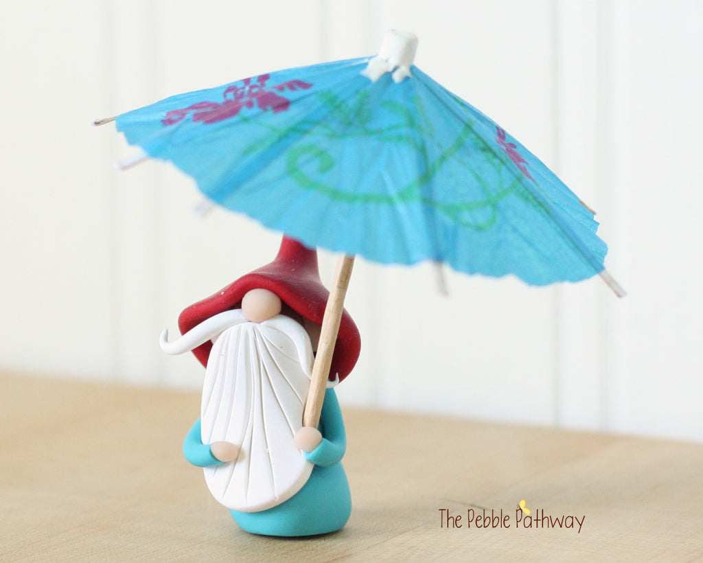 April Gnome of the Month - April Showers - Umbrella Gnome - 0443 - ThePebblePathway