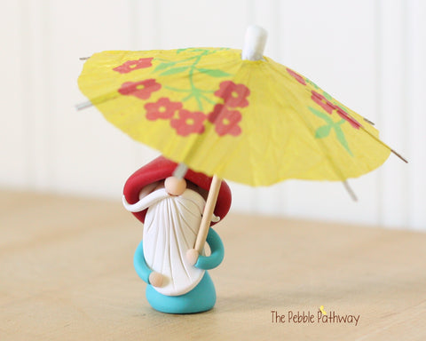 April Gnome of the Month - April Showers - Umbrella Gnome - 0444 - ThePebblePathway
