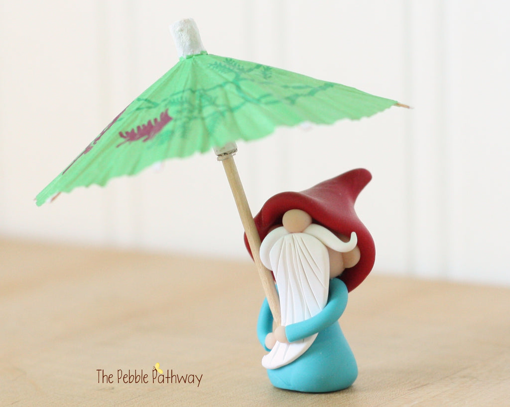 April Gnome of the Month - April Showers - Umbrella Gnome - 0445 - ThePebblePathway