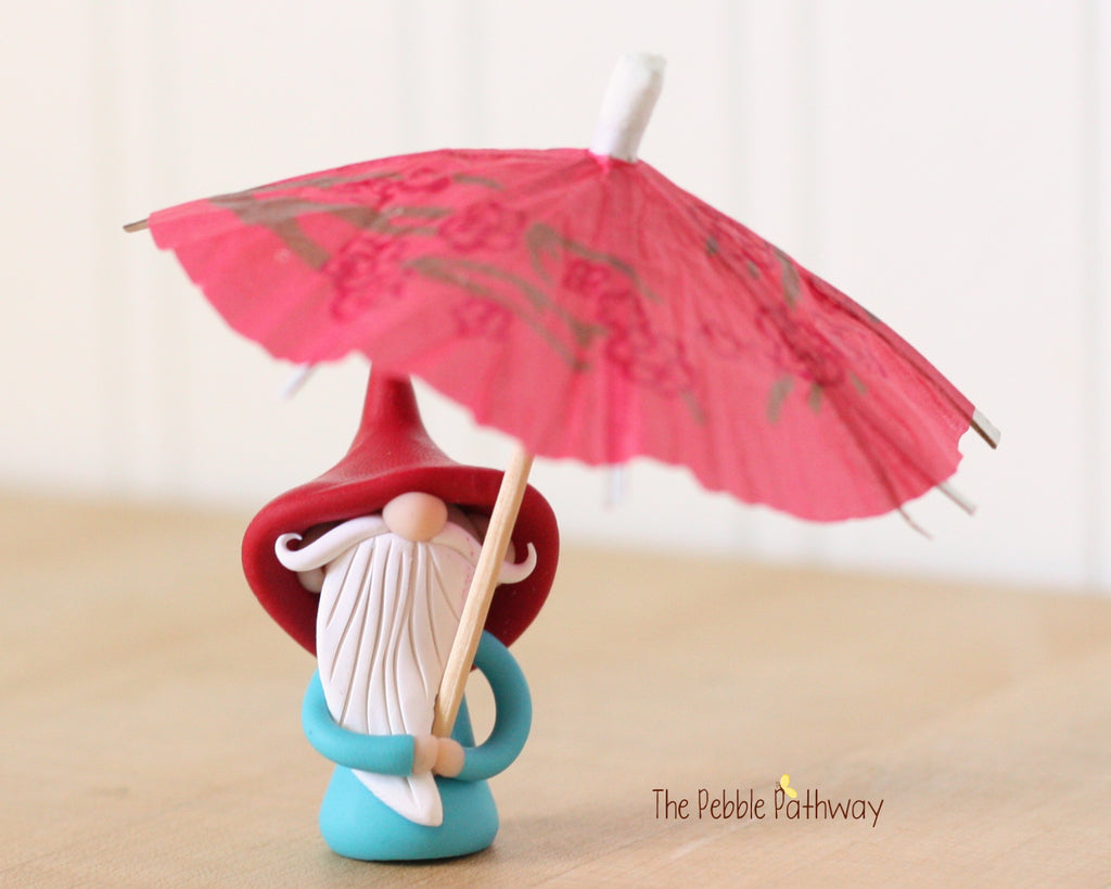 April Gnome of the Month - April Showers - Umbrella Gnome - 0446 - ThePebblePathway