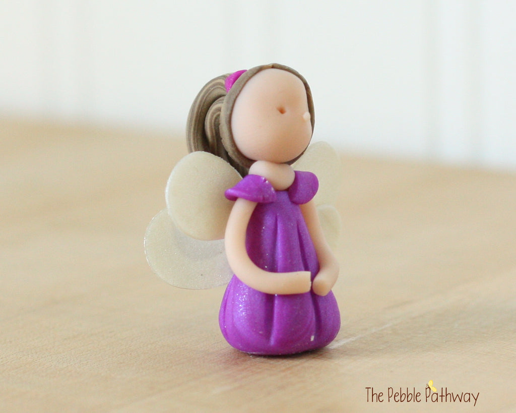 Miniature Winged Fairy Ornament with long brown hair purple dress 0448 - ThePebblePathway
