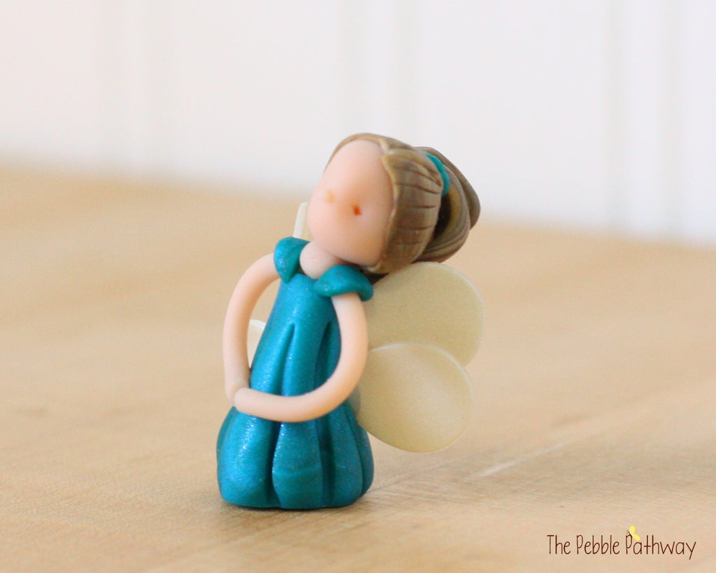 Miniature Winged Fairy Ornament with long brown hair blue dress 0449