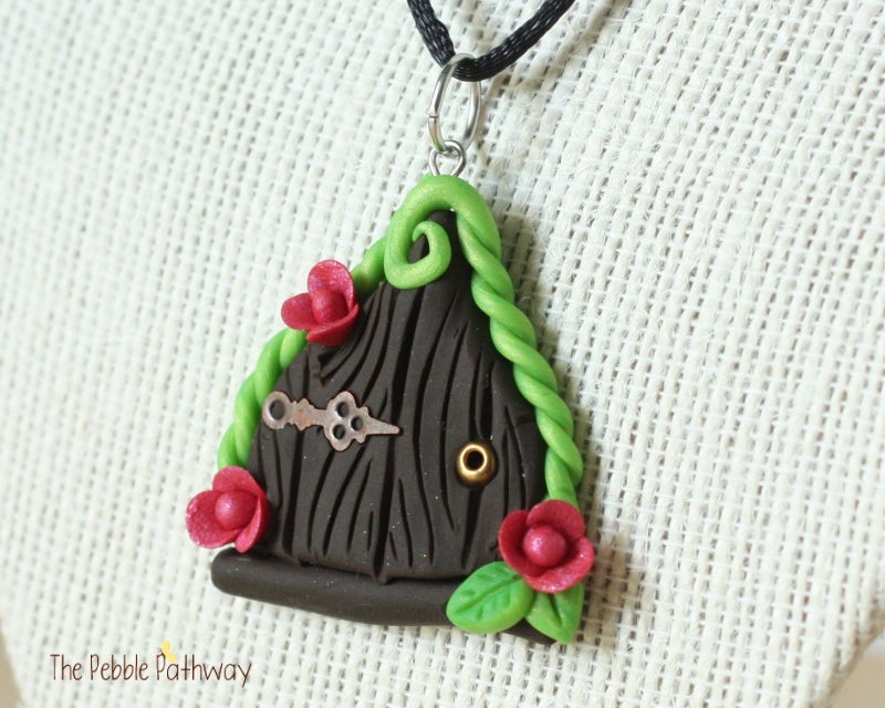 Fairy Door necklace pink flowers and copper hinge - ThePebblePathway