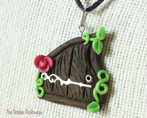 Fairy Door necklace pink flower and silver hinge - ThePebblePathway