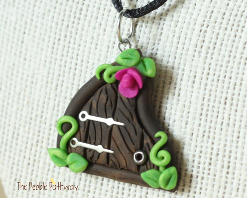 fairy door necklace purple flower and silver hinges