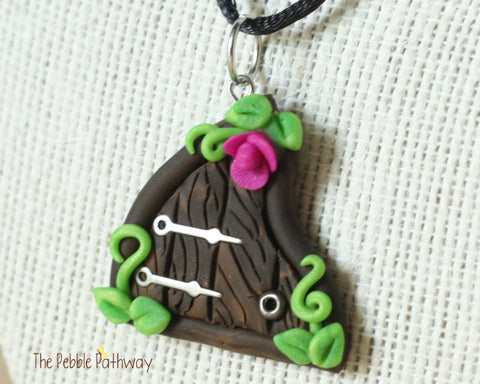 Fairy Door necklace purple flower and silver hinges - ThePebblePathway