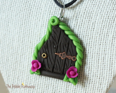 Fairy Door necklace purple flowers and copper hinge - ThePebblePathway
