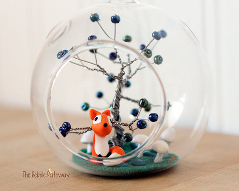 Fox Terrarium with Dark Blue Wire tree and white mushrooms