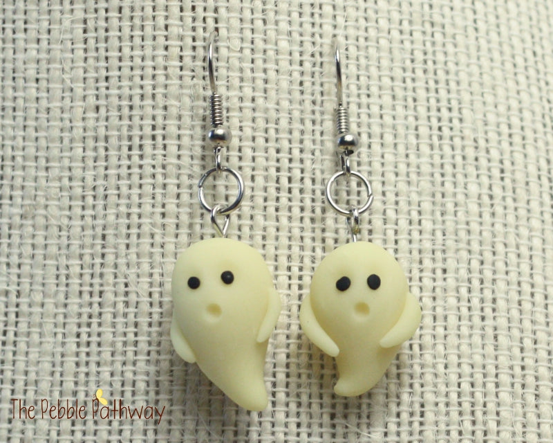 Glow in the Dark Ghosts earrings 0134 - ThePebblePathway