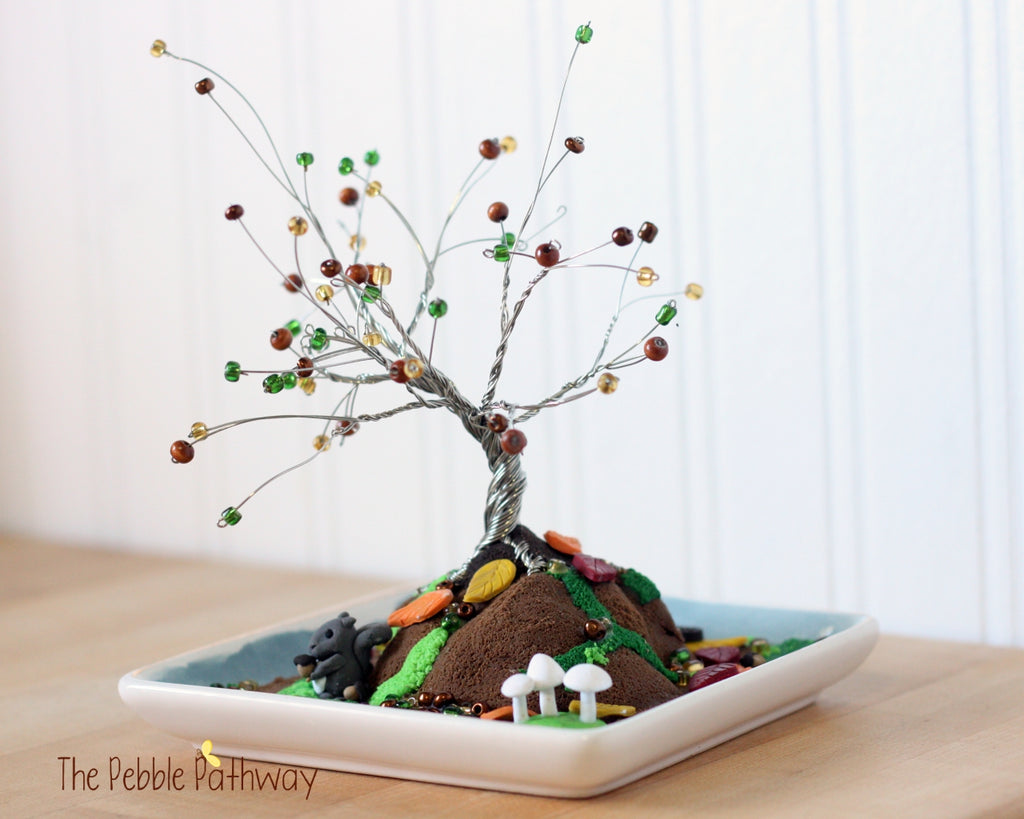 Autumn Tree in Dish Diorama with Leaves, White Mushrooms, Squirrel, Acorns - ThePebblePathway