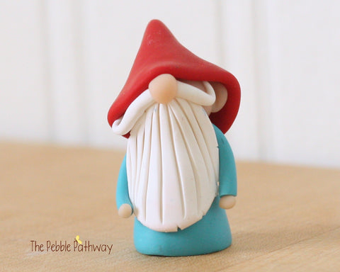 Blue gnome with red hat - plant poke and fairy garden accessory 0201 - ThePebblePathway