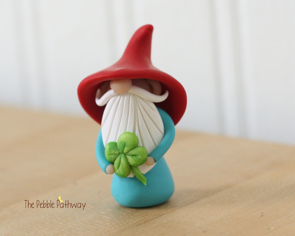 March Gnome of the Month - Lucky Gnome holding 4 leaf clover - Saint Patricks Day - 0355 - ThePebblePathway