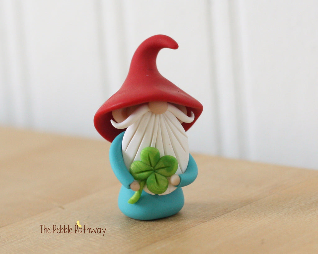 Lucky Gnome holding 4 leaf clover - Saint Patricks Day - 0356 - ThePebblePathway